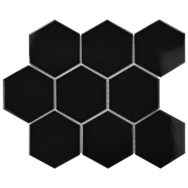 Retro Super Hex 3.73 x 3.73 Porcelain Mosaic Tile in Glossy Black by EliteTile