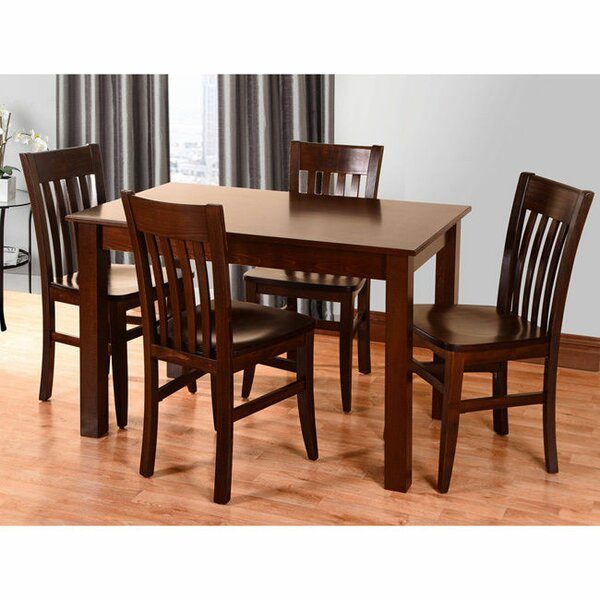 Kennerson 5 Piece Solid Wood Dining Set by Alcott Hill