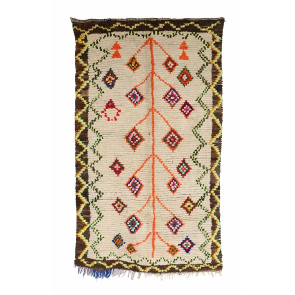 Ourika Vintage Moroccan Hand Knotted Wool Beige/Orange/Green Are Rug by Indigo&Lavender