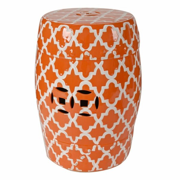 Nestor Glossy Patterned Garden Stool by Bungalow Rose