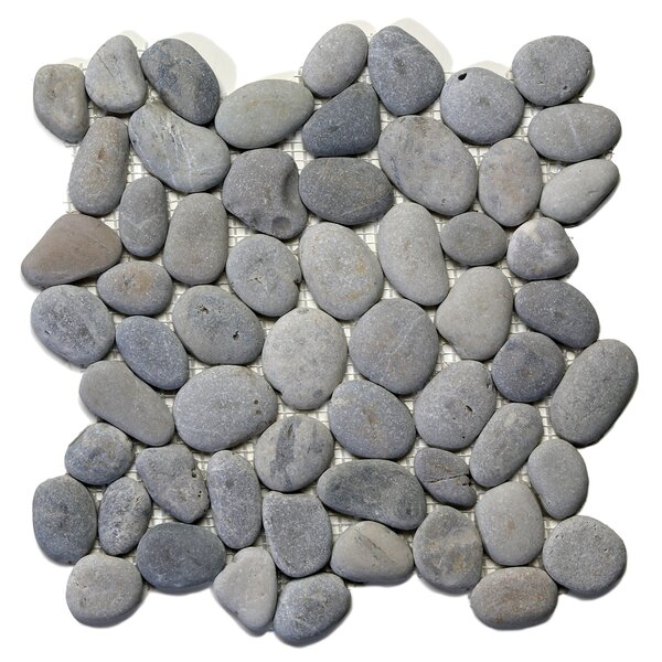 River Rock Random Sized Natural Stone Pebble Tile in Alpine Gray by Solistone