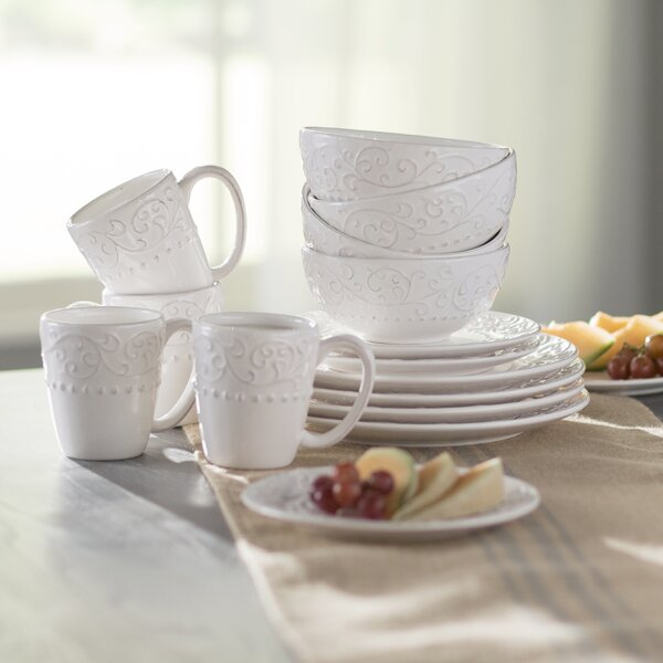 Yaelle Leaf Round 16 Piece Dinnerware Set, Service for 4 by Lark Manor
