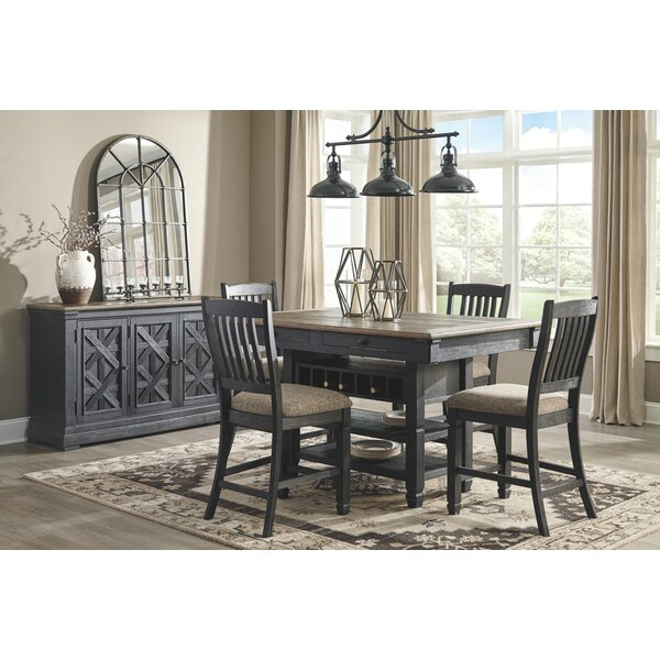 Ventanas 5 Piece Counter Height Solid Wood Dining Set by Canora Grey