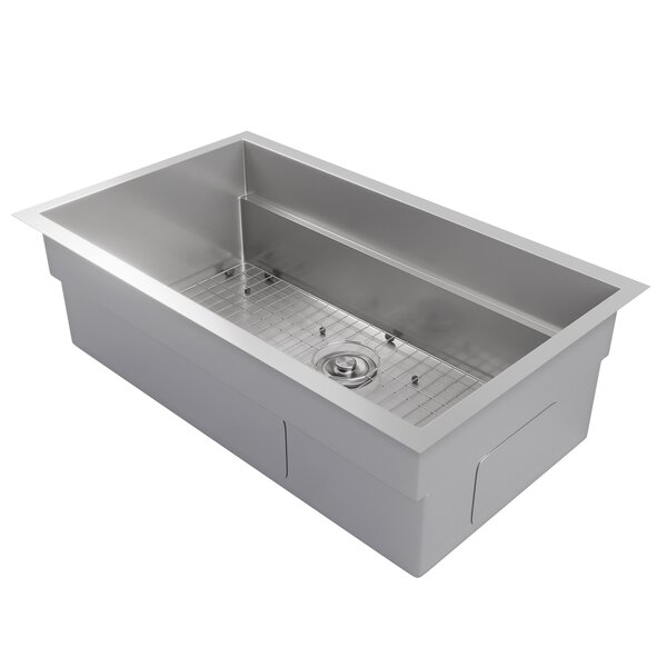 Gem Series Workstation Ledge Gauge Stainless Steel 32 L x 19 W Undermount Kitchen Sink with Basket Strainer