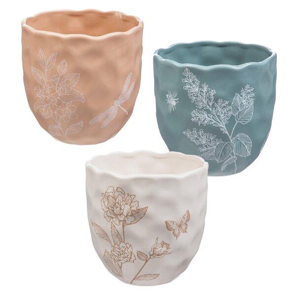 Ledger 3 Piece Ceramic Pot Planter Set by Ophelia & Co.