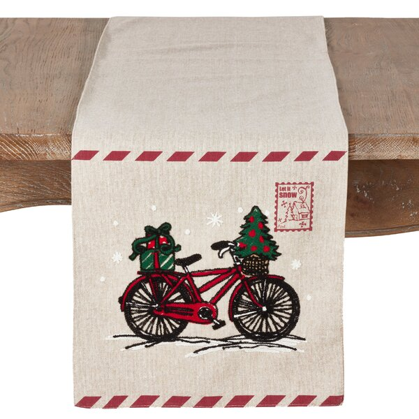 Naveen Bicycle and Stamp Holiday Table Runner by The Holiday Aisle