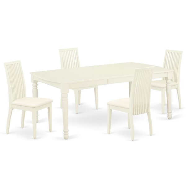 Lloshi 5 Piece Extendable Solid Wood Dining Set by Winston Porter Winston Porter