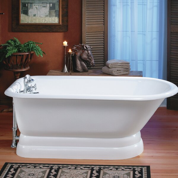 Traditional Cast Iron 68 x 30 Freestanding Soaking Bathtub with Pedestal Base by Cheviot Products