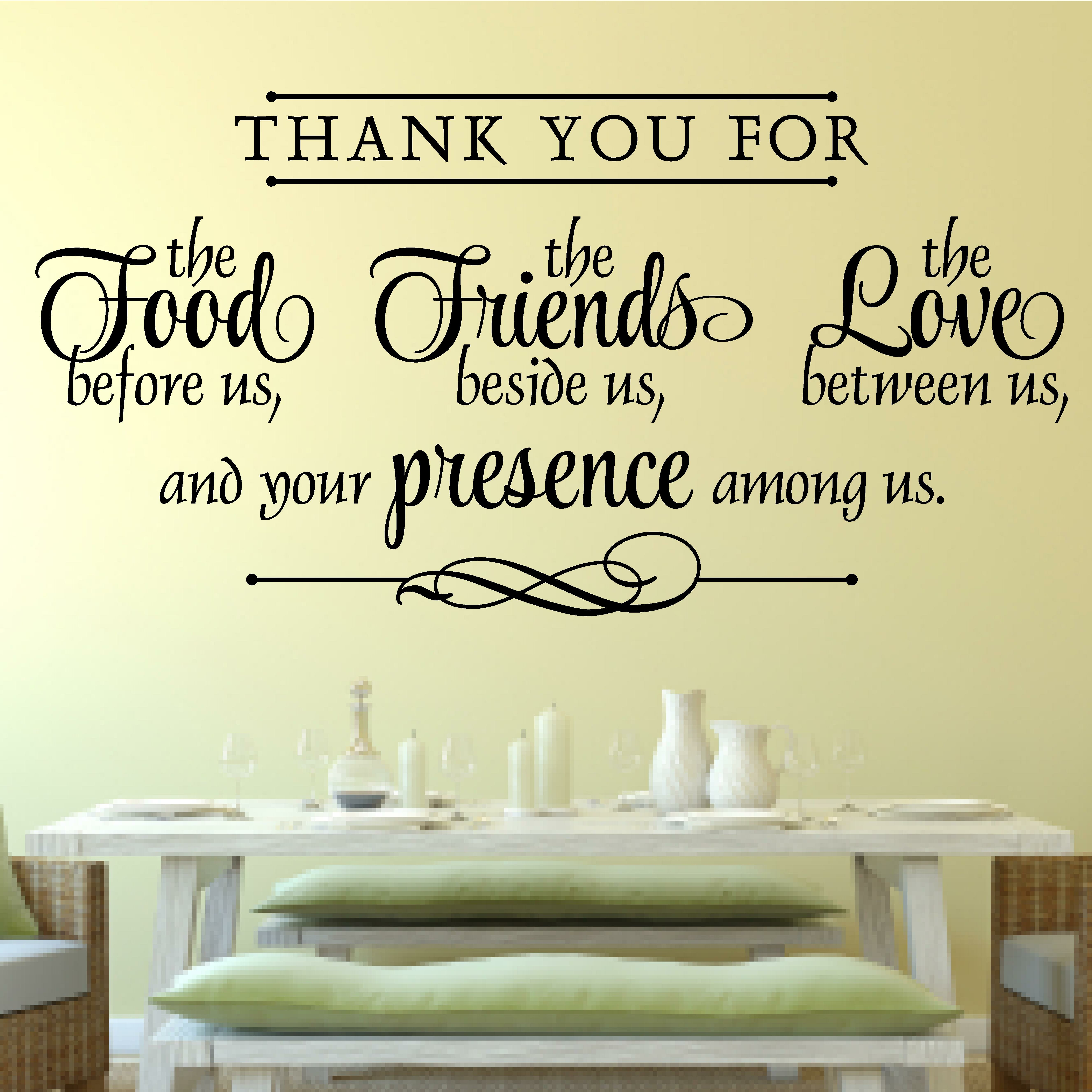 Enchantingly Elegant Thank You for Food Friends Love Religious Decor ...