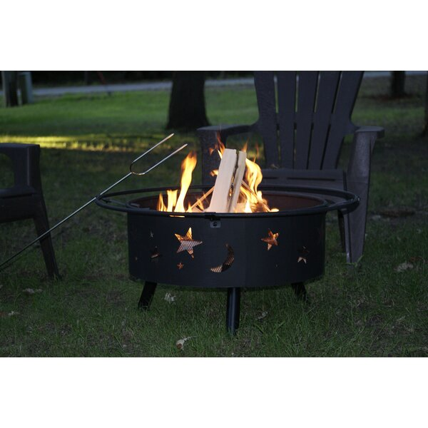 Moon and Star Steel Wood Burning Fire pit by Backyard Expressions