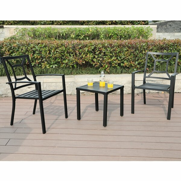 Stillings Metal Outdoor 3 Piece Bistro Set (Set of 2) by Charlton Home
