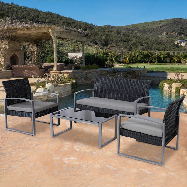 Kreutzer Patio Garden Furniture 4 Piece Rattan Sofa Seating Group with Cushions by Ebern Designs