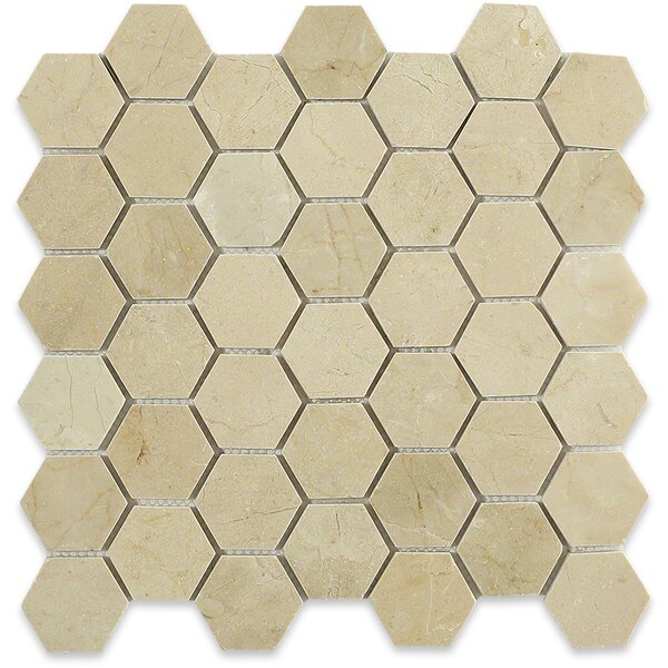 Hexagon 2 x 2 Marble Mosaic Tile in Crema Marfil by Splashback Tile