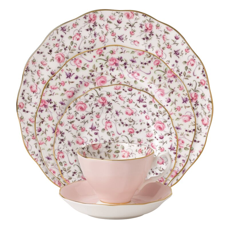 Bone China Dinnerware Set Floral Design 5 Piece 1 Serving Plate Bowl Teacup Pink  sc 1 st  eBay & Bone China Dinnerware Set Floral Design 5 Piece 1 Serving Plate Bowl ...