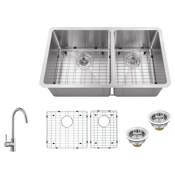 Radius 16 Gauge Stainless Steel 32'' x 19'' 60/40 Double Bowl Undermount Kitchen Sink with Gooseneck Faucet by Soleil
