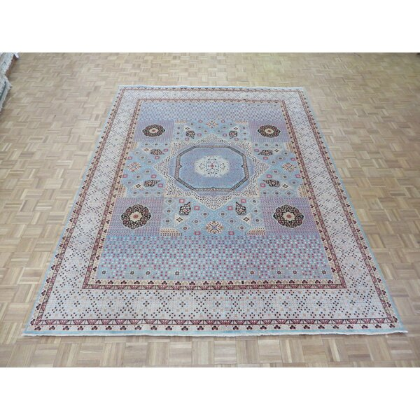 One-of-a-Kind Pagan Hand-Knotted Wool Sky Blue Area Rug by Bloomsbury Market