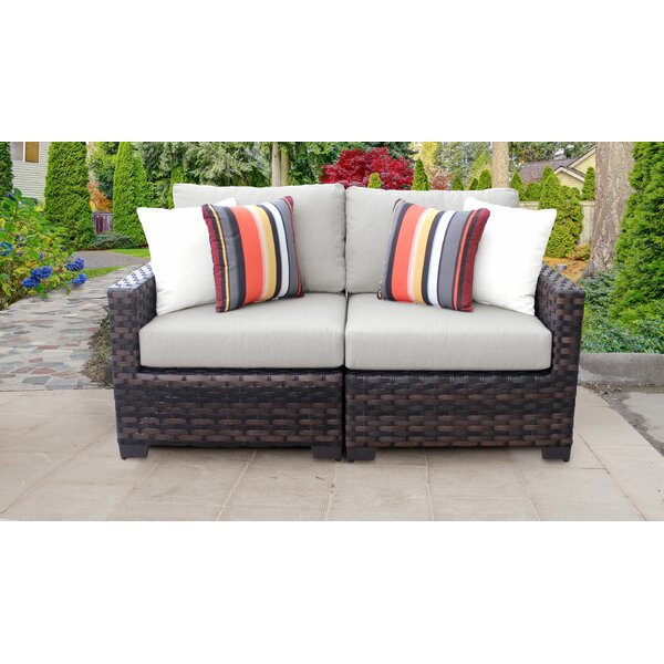 kathy ireland Homes & Gardens River Brook 2 Piece Outdoor Wicker Patio Furniture Set 02a by kathy ireland Homes & Gardens by TK Classics
