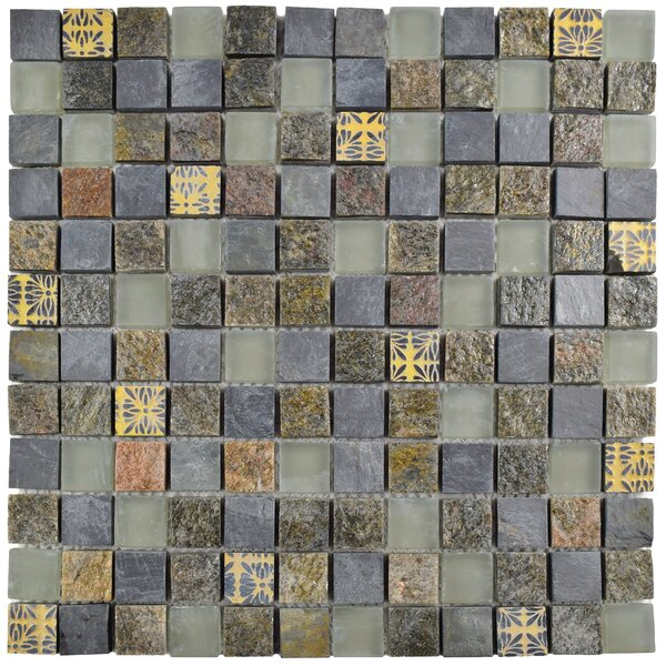 Abbey 0.88 x 0.88'' Natural Stone and Metal Mosaic Tile  in Fauna Rosa by EliteTile