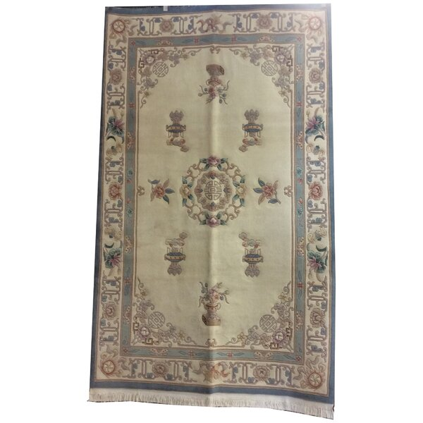 One-of-a-Kind Drumroan Hand-Knotted Wool Ivory/Blue Area Rug by Canora Grey
