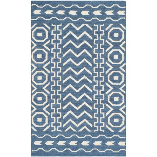 Dhurries Hand Woven Cotton Dark Blue/Ivory Area Rug by Safavieh