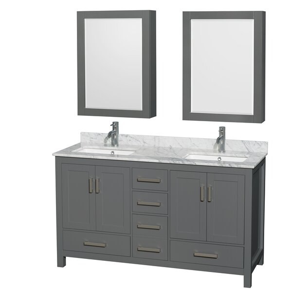 Sheffield 60 Double Bathroom Vanity Set with Medicine Cabinets by Wyndham Collection