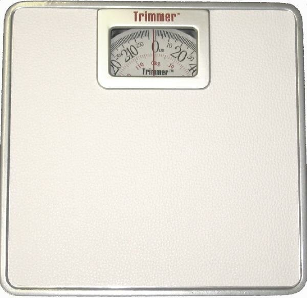 Silver Frame Mechanical Bathroom Scale with Square Display by Trimmer