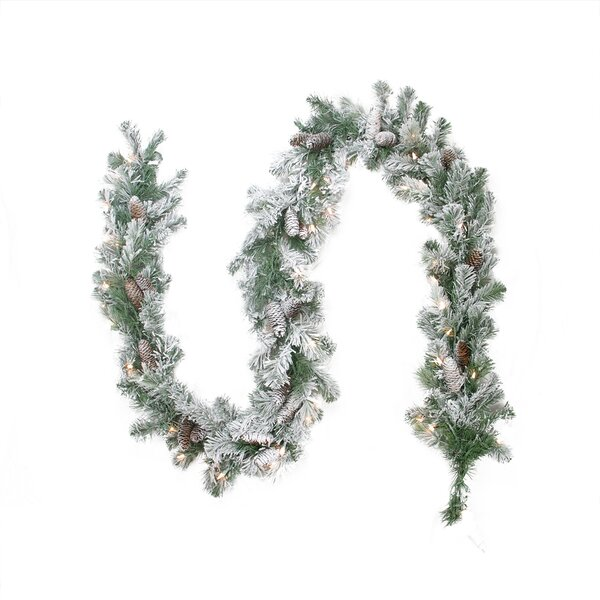 Pre-lit Flocked Victoria Pine Artificial Christmas Garland by Northlight Seasonal