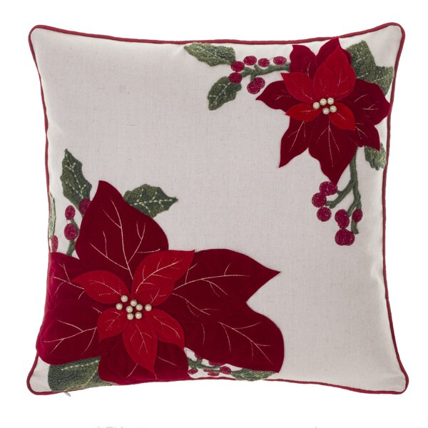 Poinsettia and Holly Throw Pillow by The Holiday Aisle