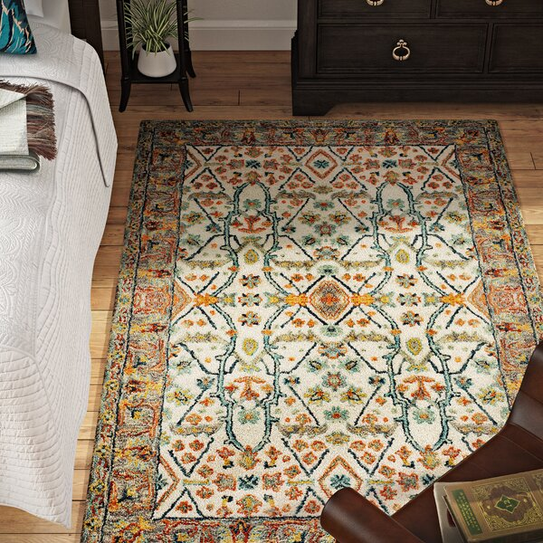Garvin Hand-Tufted Wool Ivory/Blue Area Rug by Bloomsbury Market