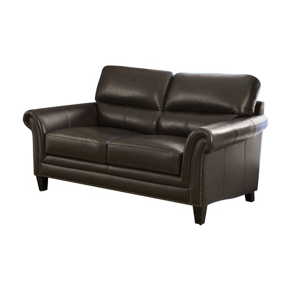 Jeannie Leather 70'' Rolled Arms Loveseat By Darby Home Co