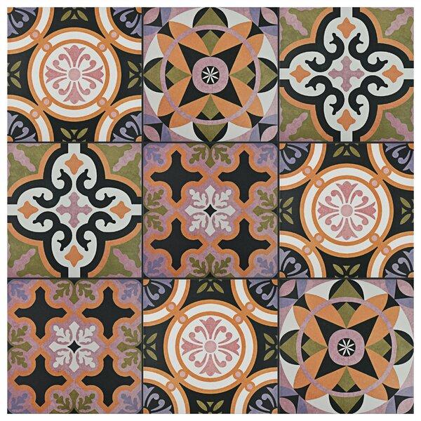 Helen 9.75 x 9.75 Porcelain Field Tile in Black/Green by EliteTile