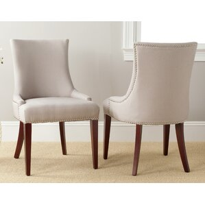 Alpha Centauri Upholstered Side Chair in Linen - Two Toned Beige with Carpenter Nailheads by Brayden Studio