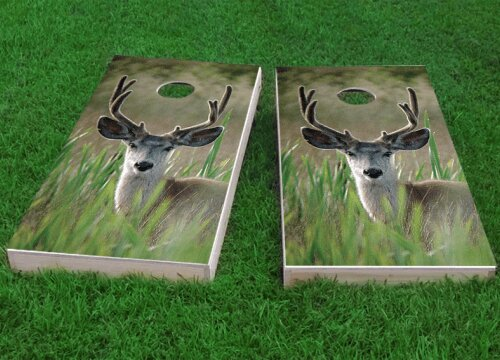 Mule Deer in Wetlands Cornhole Game (Set of 2) by Custom Cornhole Boards