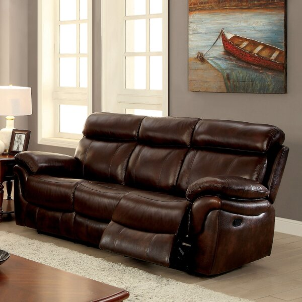 Caswell Leather Reclining Sofa by Winston Porter