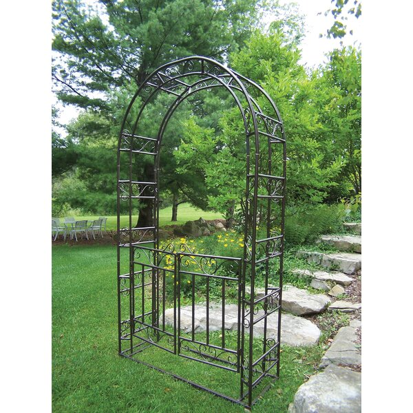 Steel Arbor with Gate and Base by Oakland Living