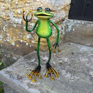 Animal Standing Metal Frog Garden Statue