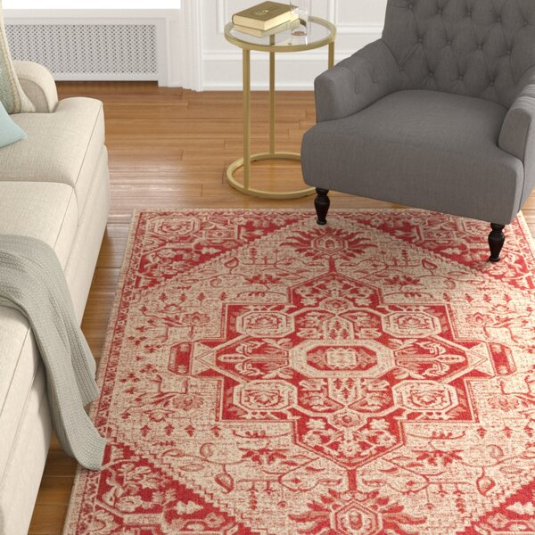 Hoover Cream/Red Area Rug by Canora Grey