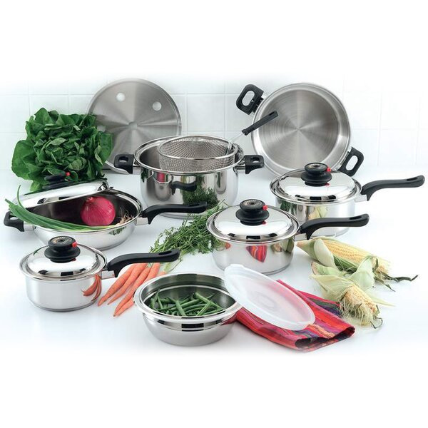 12 Piece Non-Stick Stainless Steel Cookware Set by Diamond Home