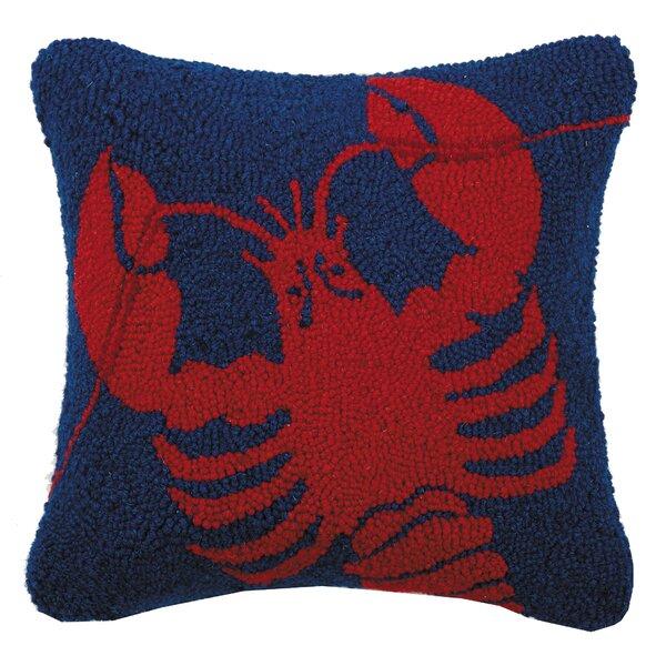 Liberty Lobster Hook Wool Throw Pillow by Breakwater Bay