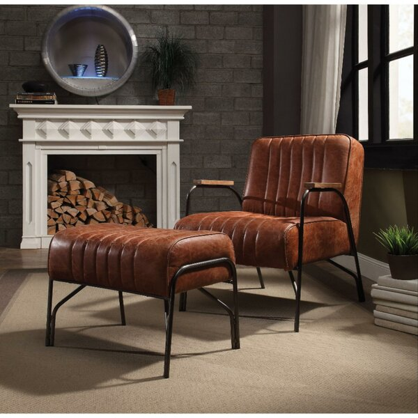 Taya Stitched Faux Leather Upholstered Metal Armchair And Ottoman