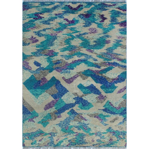 Merchant Hand-Knotted Wool Blue/Gray Area Rug by Ebern Designs