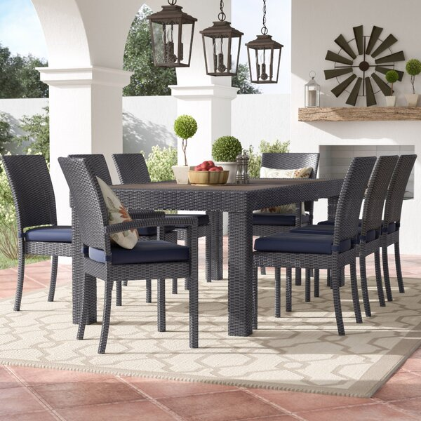 Evansville 9 Piece Outdoor Dining Set with Cushion by Three Posts