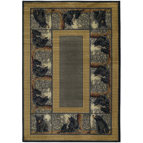 Hautman Bear Family Blue/Gold Area Rug by Hautman Brothers Rugs