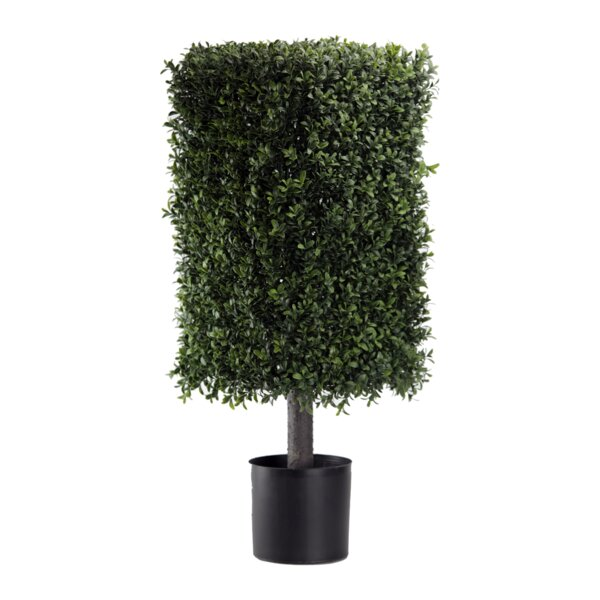 Artificial Deluxe Square Floor Boxwood Topiary in Pot by Orren Ellis