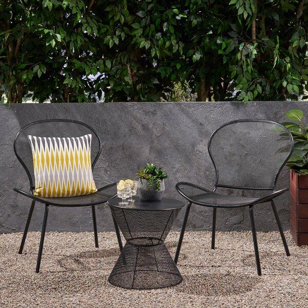 Yoshida Modern Outdoor 3 Piece Seating Group Ebern Designs W000291536