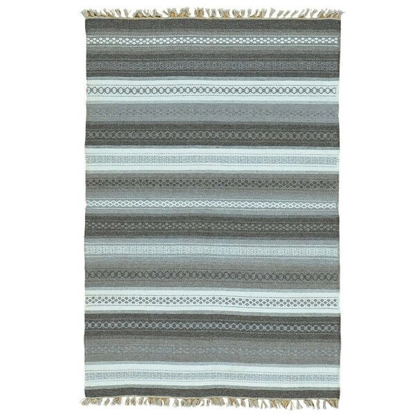 Flat Weave Striped Durie Kilim Oriental Hand-Knotted Gray/Black Area Rug by Bloomsbury Market
