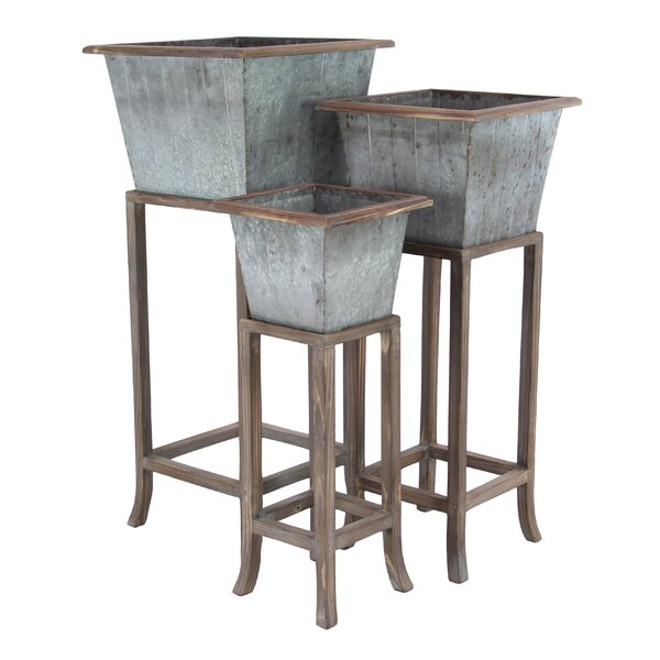 Rustic Tapered Square 3-Piece/Planter Box Set with Stand by Cole & Grey