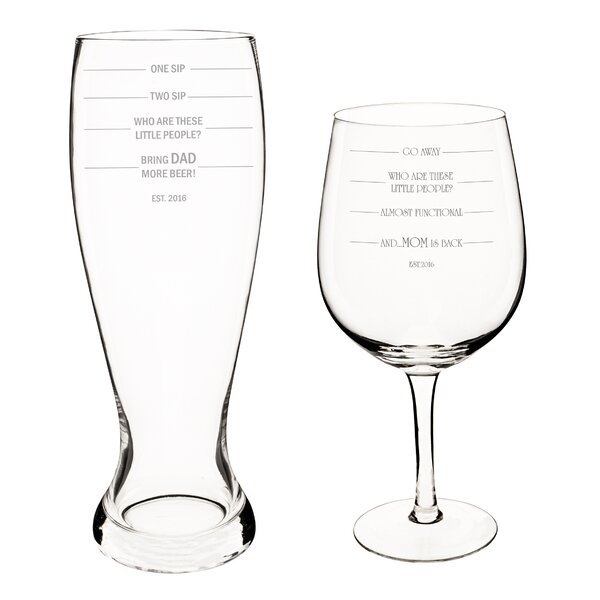 Personalized Parent Measuring XL Beer and Wine Glass Set by Cathys Concepts