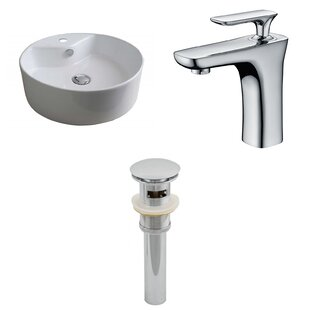 Best Reviews Ceramic Circular Vessel Bathroom Sink with Faucet and Overflow ByAmerican Imaginations