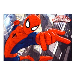 Marvel Spiderman Polyester Red/Blue Kids Rug